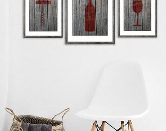 Wine Gift, Wine Wall Art, Wine Lover Gift, Rustic Wall Decor, Wood Wall Art, Wine Bottle, Kitchen Wine Decor, Printable Kitchen Art
