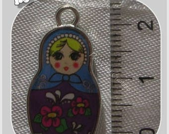 1 PENDANT charm MATRYOSHKA BABUSHKA Russian DECORATIVE metal doll * B312
