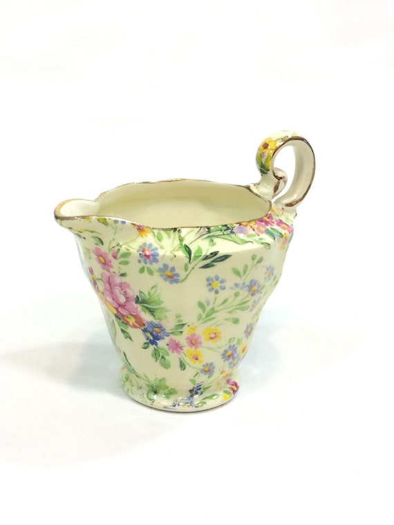 Royal Winton Grimwades Chintz Creamer, Floral Feast Pattern Summer Flowers, Cottage Shabby Chic, 1930s Vintage Antique English China