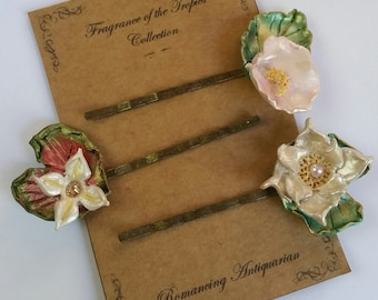 Flower Bobby Pin Variety Set in White/Pink/Green, Handcrafted Floral Hairpins