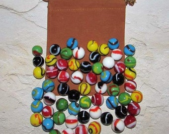 "Chinese Checkers Rainbow Replacement Game Marbles 60 5/8"" (MF). Ten Each Color With Free Medium Pouch"