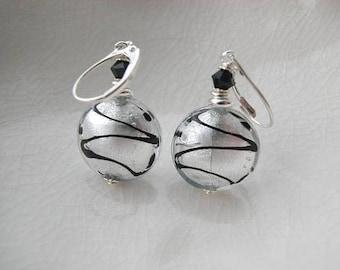 Murano Silver ZigZag Glass Earrings