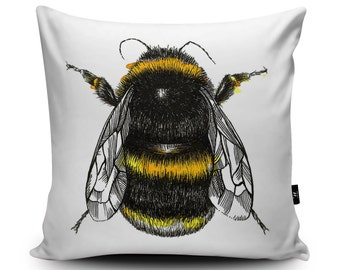 Bumblebee Drawing Vegan Cushion by Sophie Cunningham | Bumble bee Throw Pillow | Bee Illustration Insect Cushion Cover | Lounge Sofa Cushion