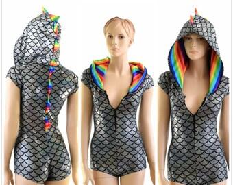 Regenbogen Silber Drachen Reißverschluss vordere Kappe Ärmel Hoodie Strampler mit Regenbogen-Streifen-Spikes & Kapuzenfutter-153916