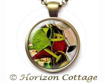 Gardener Necklace, Garden Art Jewelry, Gift for Gardener, Gardening Gift, Fine Art Photograph, Watering Cans, Your Choice of Finish