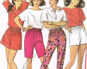 Size 8-18 Misses Easy Pants Or Shorts Sewing Pattern - Taper Leg Pull On Pants - Pull On Shorts Pattern - Bermuda Shorts - New Look 6334