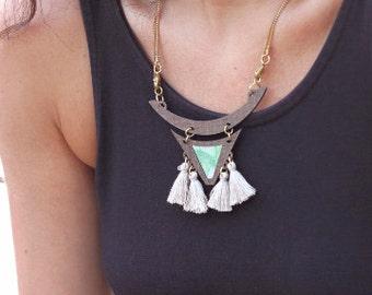 christmas sale, triangle Geometric long necklace, long Tassel Necklace, Statement necklace, Mint turquoise necklace, Beige Tassel Necklac