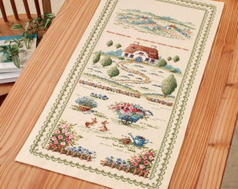 Cross Stitch kit Modern, Embroidered table runner, Japanese counted Cross Stitch Kit, Onoe Megumi,Hand Embroidery Kit, Embroidered DIY,EK376
