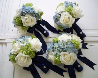 FREE SHIPPING...Package Classic Navy White Realtouch Rose and Silk Blue Hydrangea Bridal and Bridesmaids Bouquet Set