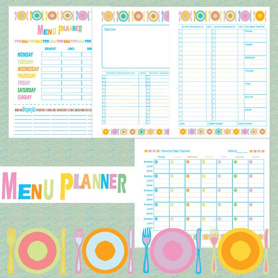 printable menu planner weekly dinner menu planner pdf ali edwards