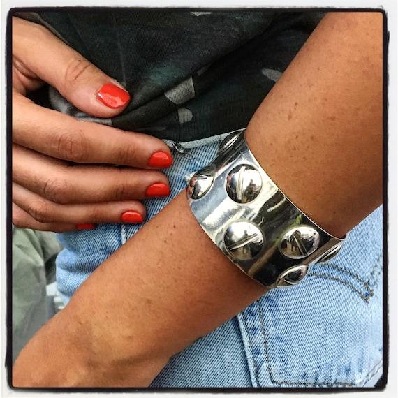 Etherial Jewelry - Rock Chic Talisman Luxury Custom Handmade Artisan Pure Sterling Silver .925 Handcrafted Cuff Designer Bracelet