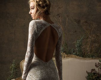 Valentina Bohemian Wedding Dress | Long Sleeves Lace Gown w/ Open Back | Simple Wedding Dress | Custom Made to Measure