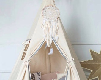 Tee Pee for Kids - Large - UNBLEACHED Canvas!