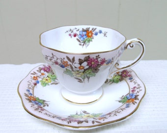 1930s Foley Tea Cup and Saucer Set / Vintage Pink Floral Transferware English Bone China