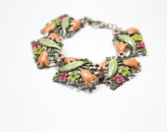 "Vintage Enamel Floral Bracelet in Pink Green and Fuchsia Swarovski Crystals 7.5"" Long"