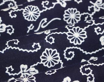 56 Inches long Vintage Japanese Indigo Cotton Floral Yukata Kimono Fabric