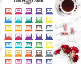Laptop Planner Stickers | Computer Stickers | Laptop Stickers | Appointment Stickers | Reminder Stickers | Planner Icon Stickers (I-054)
