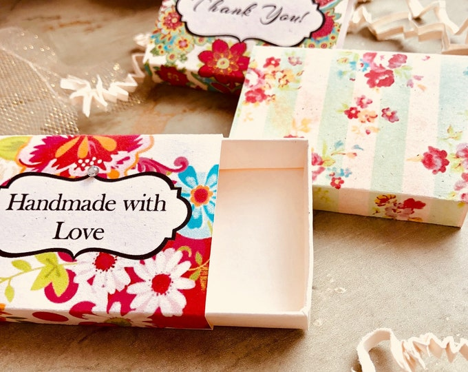 Set of 12 •2x2.60 GIFT BOX•Necklace Box•Jewelry Box•Necklace Holder•Gift Packaging•Earring Holder•Necklace Holder• Shabby Floral 3