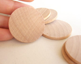 "75 Unfinished Wooden Circles 1.50"" -Small Wooden Circles -Wooden Circles Supplies -Natural Wood Circles -Wood Circles Beads"