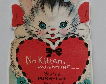 Vintage kitsch Valentine's card sticker with cute kitten x2