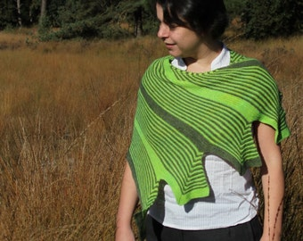 PDF knitting pattern scarf, scarflette, garter stitch, shawl: Peace of Mind