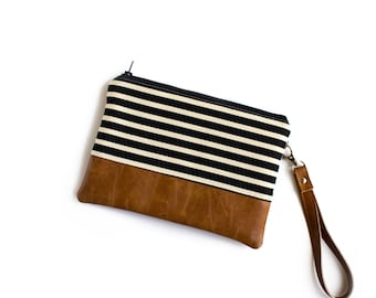 Wristlet Wallet, iPhone 7 Wallet, Bridesmaid Clutch, Faux Leather Fanny Pack, Striped Wallet, Black and White