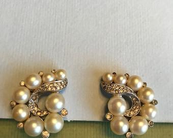 JOMAZ Faux Pearl and Rhinestone Clip Earrings