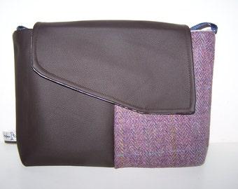 Leather and Purple Harris Tweed Satchel.  Purple, tartan, gift, bag. Gift for her, birthday gift, anniversary gift