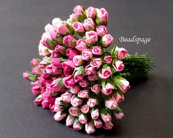 Miniature Roses, Miniature Flowers, Sweet Pink Rose Petite Bouquet for 1/12 scale ~ 1/6 scale (select size), Dollhouse Barbie Pukifee