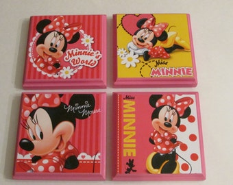 Minnie Mouse Room Wall Plaques   Set Of 4 Minnie Mouse Girls Room Decor    Minnie
