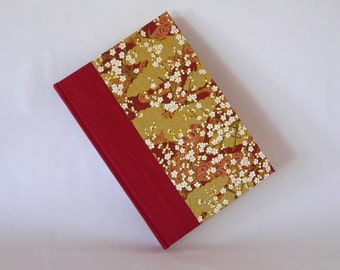 Address book large -crimson with tranquil landscape chiyogami - 6x8.5in 15x22cm -  Ready to ship