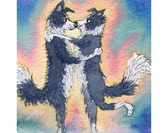 Border Collie 8x10 art print - from a dog hug watercolor painting by Susan Alison