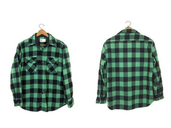 Buffalo Plaid Shirt 60s WOOL Flannel Green Black Lumberjack Shirt Button Up Long Sleeve Wool Hunting Shirt Grunge Vintage Mens Medium Large