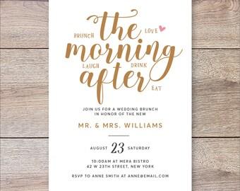 Morning After Brunch Invitation, Wedding Brunch Invitation, Rise And Shine Wedding Brunch Invitations, Post Wedding Brunch Invite
