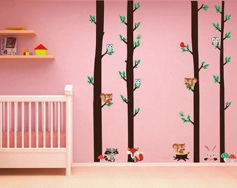 Squirrels wall decals owls wall decals woodland animals Wall Decals Trees wall Decals forest decals for kids kcik1665