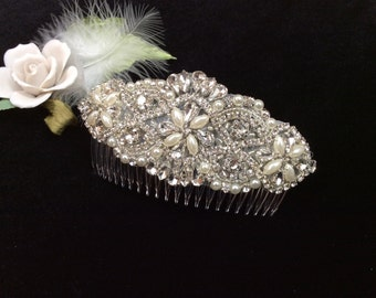 Bridal Headpiece, Vintage Inspired Comb, Bridal Comb, Rhinestone and Pearl Comb, Pearl Comb, Best Friend Bridal