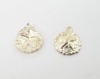 14k Gold Filled Charm, Starfish on Sand Dollar, 10mm, USA, Lightweight