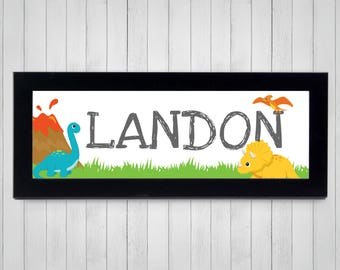 Dinosaur Decor, FRAMED Nursery Art, Personalized Name Print, Kids Dinosaur Wall Art, Little Kids Room, Gift Under 50, Toddlers Room Decor