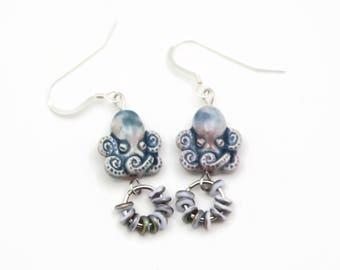 Octopus Earrings, Ocean Life Jewelry, Nautical Octopus Jewelry