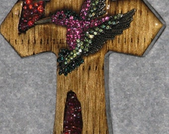 DECORATIVE CROSS, HUMMING bird small, handmade, wooden, original, one of a kind