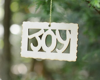 Natural Wood Joy Word Ornament