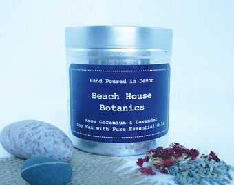 Rose Geranium & Lavender Soy Wax Candle with Essential Oils-Tin 250ml