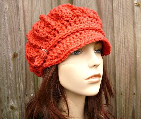 Crochet Hat Womens Hat - Spring Monarch Ribbed Crochet Newsboy Hat in Pink Salmon Crochet Hat Womens Accessories - READY TO SHIP
