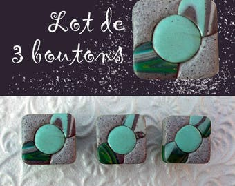 Set of 3 buttons of furniture in grey and Aqua green, very original