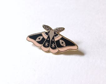"Black Moth Enamel Lapel Pin, 1.25"" Hard Enamel Pin in Light Gold Color Finish w/ Rubber Clutch. Butterfly, Eye, Cloisonné Brooch. Gift Idea."