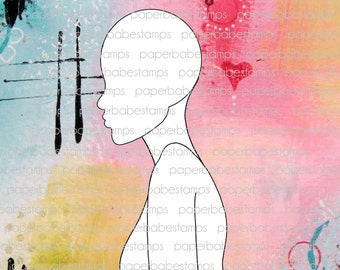 Mixed Media Templates ~ Female Profile Head & Torso - Paperbabe Stamps - Mylar templates - For mixed media, paper crafting and scrapbooking.