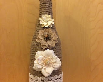 Decorative Wine Bottles Wrapped in Twine