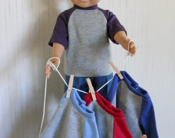 """18"""" Boy Doll Clothes 2 Piece Your Color Choice Shirt with Jeans fits  American Girl Type 18"""" Dolls"""