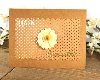 Handmade Sympathy Card, Condolences, Brown Gold Yellow, Polka Dots, With Sympathy, Blank Inside, Free US Shipping