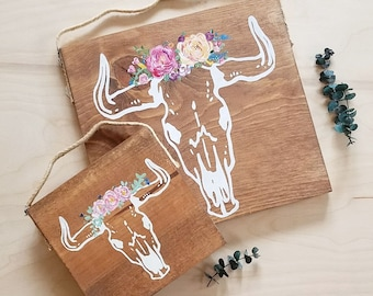Cow skull with flowers